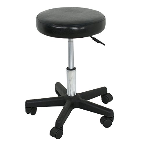 F2C Leather Adjustable Bar Stools Swivel Chairs Facial Massage Spa Salon Stool with Wheels White/Black (Black) by F2C