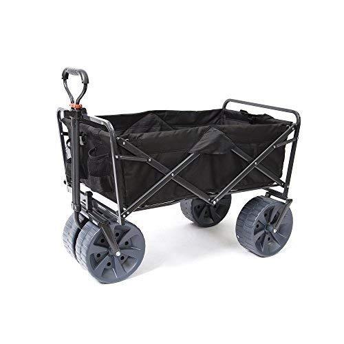 (Mac Sports Heavy Duty Collapsible Folding All Terrain Utility Wagon Beach Cart (Black))