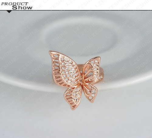Evertrust (TM)18K Rose Gold Plating Classic Beautiful Butterfly Engagement Rings With Austrian Crystals Wedding Jewelry Ri-HQ0195 by EverTrust (Image #3)