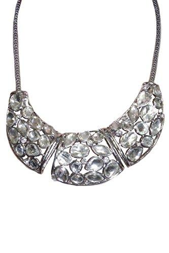 ICE (6276) Collier Argent de Plaques en Diamants avec Chaîne en Mailles