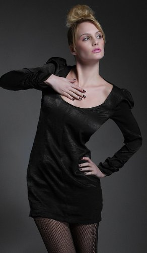 DEBUE Silky Long Puff Sleeve Dress Black