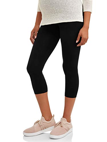 RUMOR HAS IT Maternity Over The Belly Capri Crop Support Leggings (Medium, Black)