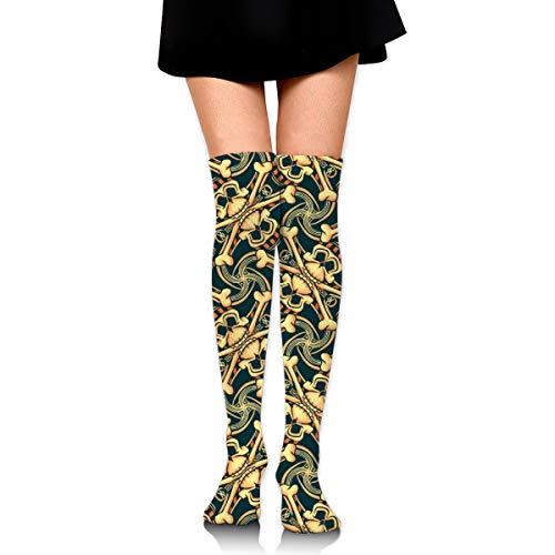 Pirate Skull Plaid Women's Over Knee Thigh Socks High Stockings 65 Cm/25.6In ()