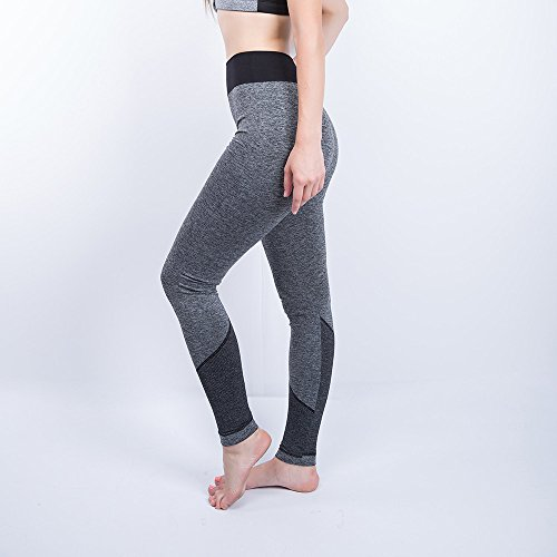 iLUGU Women Gym Yoga Patchwork Sports Running Fitness Leggings Pants Athletic Trouser(S,Black-5) by iLUGU (Image #2)