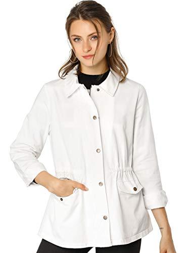 Allegra K Women's Drawstring Waist Flap Pockets Lightweight Utility Jacket