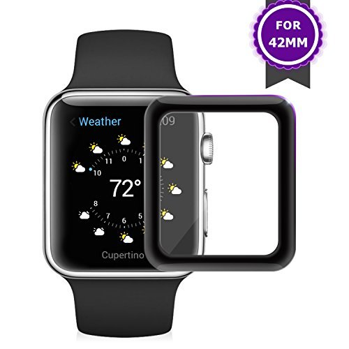 iWatch Screen Protector 42mm (Series 3/2/1), Amoner [3D Full Coverage] [Anti-Scratch] [High Definition] Tempered Glass Screen Protector for Apple Watch 42mm Series 3/2/1 (Black)