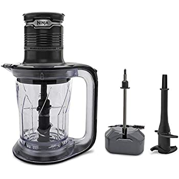 Ninja Ultra Prep Food Processor and Blender with Lightweight 700 Watt Power Pod for Dough, Smoothies, Chopping, Blending (PS101), Black/Clear (Renewed)