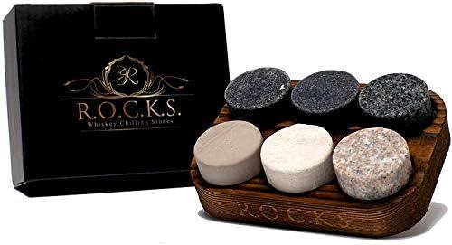 Whisky-Steine–Set 6Steine handwerklichen rund granit natur–Support de Präsentation und Aufbewahrung aus Holz–Perfekt Geschenk von R.O.C.K.S.