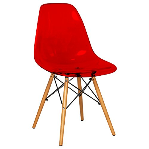 LeisureMod Calbert Plastic Molded Side Chair with Wood Dowel Legs (Transparent Red)