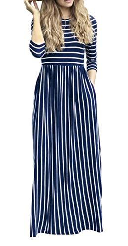 Casuali Donne Girocollo Elegante Reale Domple Vestito Maxi Blu 4 Striscia Manica 3 Tasche qaOfqrZ8n