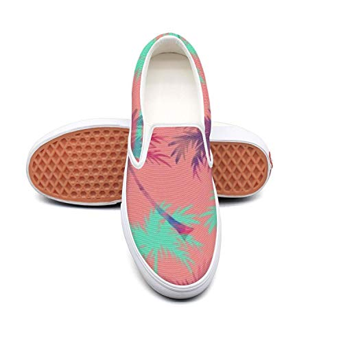 (Women's Athleisure Fashion Shoes Palm Tree 2 Comfortable Loafers Slip on Christmas Sneakers)