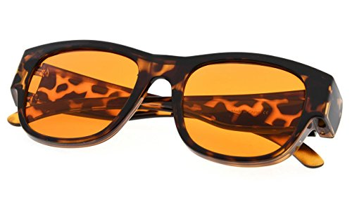 f79c5de6542 Amazon.com  Fitover Anti-Blue Blocking  Lightweight TR90  Computer Glasses  Fits Over Prescription Eyeglasses Amber Orange to Block Blue Light Better  Night ...