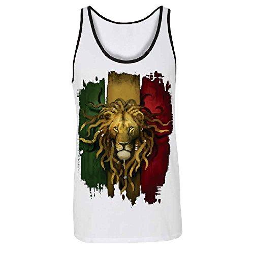 Rasta Lion Rastafarian Haile Selassie Men's Tank Top Fashion Quality Shirts White/Black -