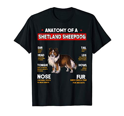 Anatomy Of A Shetland Sheepdog Dogs Lovers T Shirt
