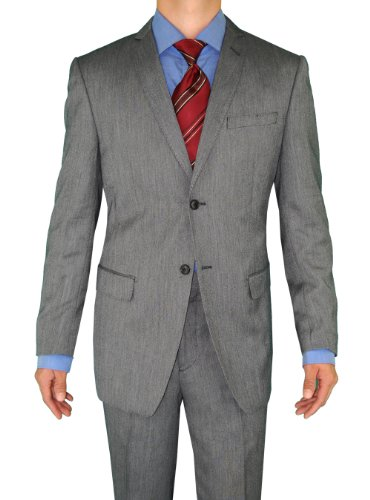 Giorgio Eleganz Men's Trim Modern Fit Suit 2 Button Dark Gray Sharkskin 44S
