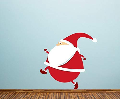 (659ParkerRob Santa Tip Toe Wall Decal Self Adhesive Vinyl Sticker Chirstams Decoration)