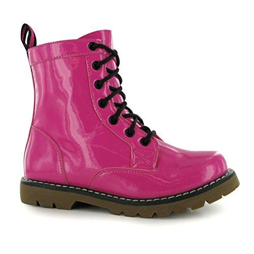 Miso 7 Loch Kinder Maedchen Stiefel Boots Lack Schnuerstiefel Lackstiefel Fuchsia 2 (34)