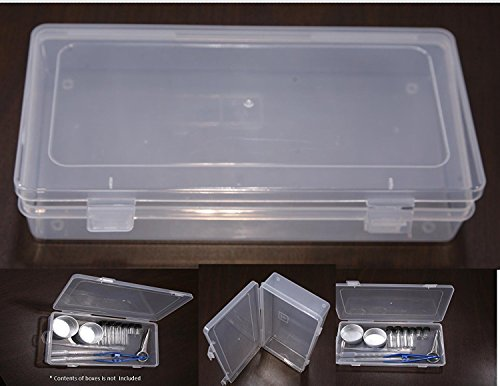 VAS Clear 7' Polypropylene Small Plastic Storage Box, Hinged Lid & Snap Closure -For Pencils, Pens, Scissors ,Office Supplies, Small Item Organizer, Tool Box, Drill Bits and more! Size: 7'x3.25'x1.25'