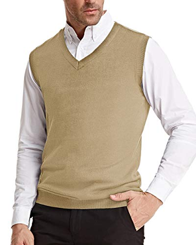 Classic Sweater Vest for Men Soft Knit V-Neck Gentleman Clothes (2XL, Light Tan)