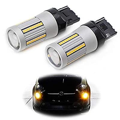 iJDMTOY (2) No Hyper Flash 24W High Power Amber 7440 W21W T20 LED Replacement Bulbs Compatible With Car Front or Rear Turn Signal Lights (No Load Resistor Required): Automotive