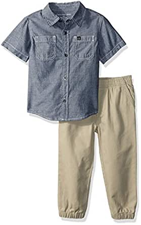 Calvin Klein Baby Boys 2 Pieces Shirt Pant Set-Short Sleeves, Blue Denim, 12M
