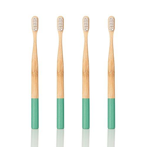 georganics ecológica Natural bambú - cepillo de dientes (tamaño mediano, cerdas (Pack de 4): Amazon.es: Salud y cuidado personal