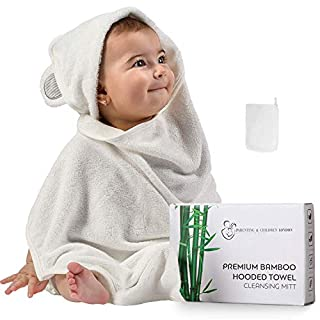 Organic Bamboo Hooded Baby Towel and Washcloth Set - Softest Unisex Bath Towel for Kids, Infants and Toddlers - Perfect for Girls and Boys (Grey)
