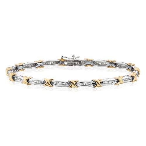 Diamond Link Bracelet in 10K Two Tone Gold (1/2 cttw) -