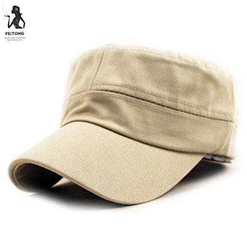 CocoMarket Fashion Classic Plain Vintage Army Military Cadet Style Cotton Cap Hat Adjustable (Beige)