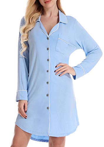 NORA TWIPS Womens Long Sleeve Pajamas Top Luxury Boyfriend Sleepshirt Dress ()