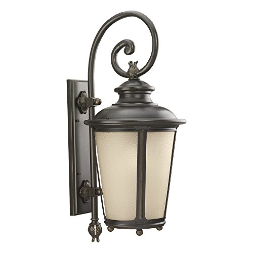 Sea Gull Lighting 88243-780 Cape May One-Light Outdoor Wall Lantern with Etched Hammered Light Amber Glass Diffuser, Burled Iron - Tabletops Glass Etched