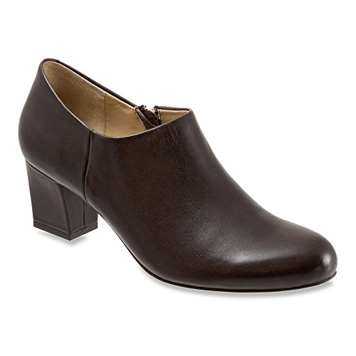 Trotters Women's Penny Bootie,Dark Brown Full Grain Soft Nappa Leather,US 9 W