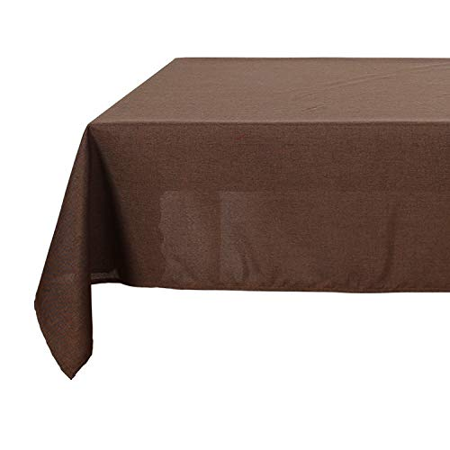 Deconovo Linen Look Table Cover Spill-Proof Rectangular Tablecloth for Dining Room 54x102 inch (Brown Rectangular Dining Table)