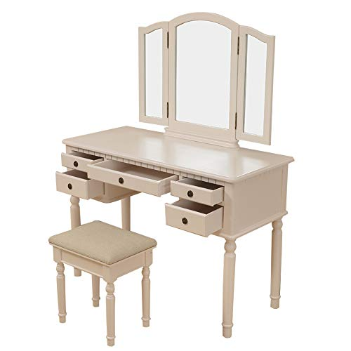 Makeup Table Three Mirror Vanity Set Tri-Folding Mirror Make-up Dressing Table Cushioned Stool 5 Drawers Beige