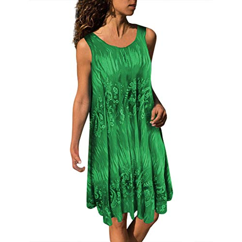 CCatyam Plus Size Dresses for Women, Skirt Vest O-Neck Print Mini Sexy Loose Casual Party Fashion Green