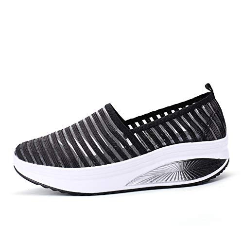 (Fashiontown Women's Mesh Platform Walking Shoes Lightweight Slip-on Fitness Work Out Sneaker Shoes (7 M US Women=38, Black))