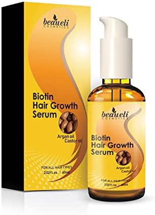 Biotin Hair Growth Serum - Hair Loss Prevention Treatment with fine thinning hair Formula to Help Grow Healthy Thicker Strong Hair for Men & Women - No Fragrance & No Sulfate, DHT Blocker