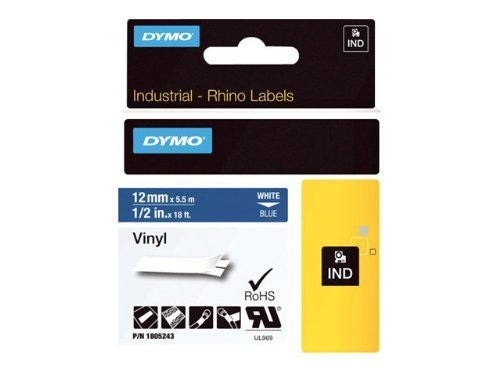 Dymo 1805243 Rhino Coloured Vinyl - Vinyl tape - white on blue - Roll (0.5 in x 18 ft) - 1 roll(s) - for DYMO ILP219, Rhino 1000, 4200, 5000, 5200, 6000, RhinoPRO 1000, 3000, 5000, 6000, 6500