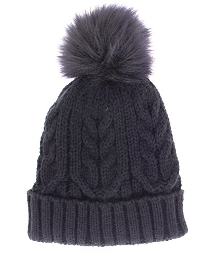Gold Toe Cap (Gold Toe Women's Lulu Cable Knit Hat With Faux Fur Pom Pom Black)