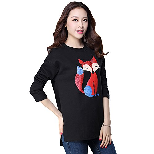 - Lerela Women's Plus Size Cute Fox Print Split Long Sleeve Sweatshirt T-Shirt Top M