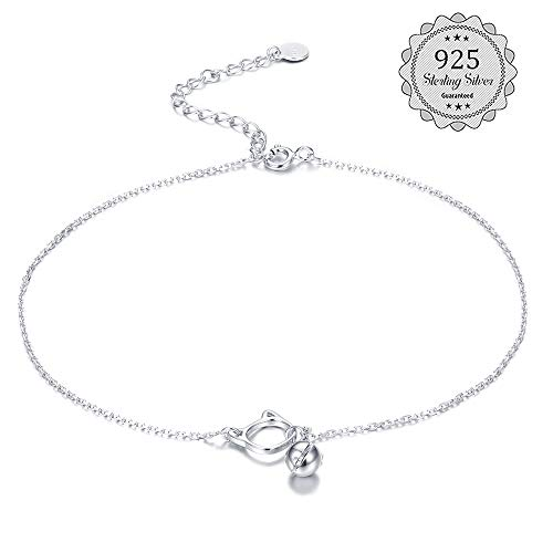LOYALLOOK Sterling Silver Anklet for Women Girls Bracelets Multilayer Anklet Chain Beach Anklet Foot Jewerly Adjustable Style 3 Cat Sterling Silver Anklet