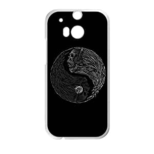 HTC One M8 Cell Phone Case White Yin Yang Music Skulls JNR2164045