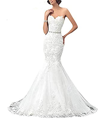 OYISHA Womens Formal Strapless Sweetheart Mermaid Wedding Dress Lace Bridal Dresses Long 2019 WD162