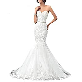 OYISHA Womens Formal Strapless Sweetheart Mermaid Wedding Dress Lace Bridal Dresses Long 2019 WD162