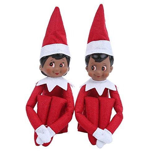 Leegoal(TM) A Pair of Elf on the Shelf Christmas Tradition 2 Dark-skinned Plush Dolls Figure Novelty Gift Elf Doll on Santa Claus' Desk Boy & (Christmas Elf Toy)