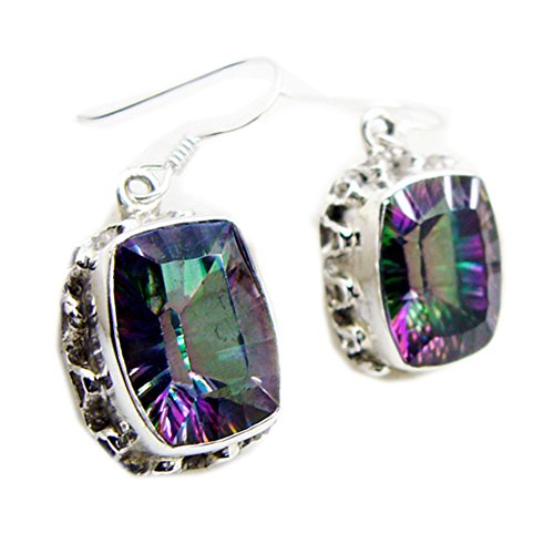 Shape Earrings Rectangle (JewelryOnClick Multi Color Earrings Mystic Quartz Silver Rectangle Shape bezel Style One Pair Handcrafted)