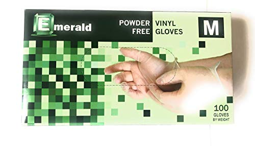 EMERALD Vinyl Powder Free Gloves Latex Free Rubber - Disposable, Ultra-Strong, Clear - Food Handling Use Approved - No Powder - Ambidextrous - Medium Size (100)