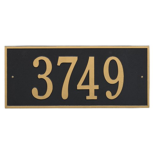 (Whitehall Products Hartford Rectangular Black/Gold Estate Wall 1-Line Address Plaque)
