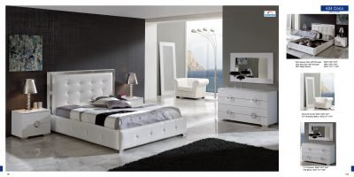 ESF Coco White Leatherette & Lacquer Crocodile Texture King Size Platform Bedroom Set by (ESF) European Style Furniture