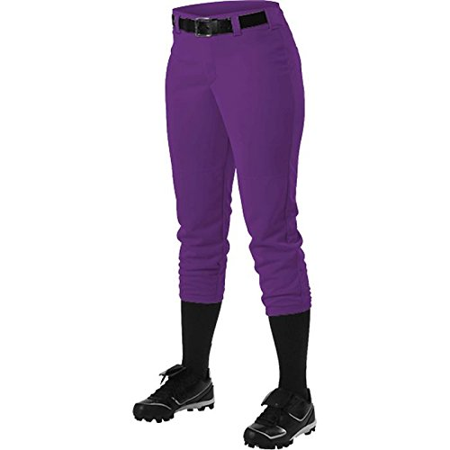 Alleson Athletic Women 's Softball Pants withベルトループ B014GAAAUY Medium|パープル パープル Medium